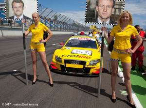 Emmanuel Macron - Circuit automobile (photomontage)